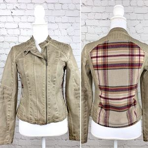 Collection by Bernardo vegan moto plaid jacket